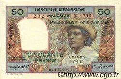 50 Francs - 10 Ariary MADAGASCAR  1961 P.51b SUP+