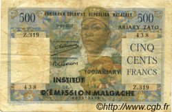 500 Francs - 100 Ariary MADAGASCAR  1961 P.53 TB+