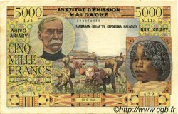 5000 Francs - 1000 Ariary MADAGASCAR  1961 P.55 TTB