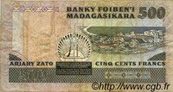 500 Francs - 100 Ariary MADAGASCAR  1988 P.71c TB