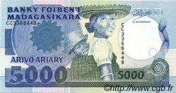 5000 Francs - 1000 Ariary MADAGASCAR  1988 P.73b pr.NEUF