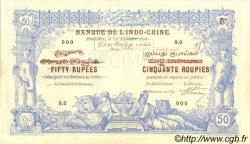 50 Rupees - 50 Roupies INDE FRANÇAISE  1898 P.A3s TTB+