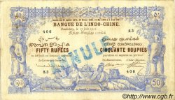 50 Rupees - 50 Roupies INDE FRANÇAISE  1915 P.003bs TB