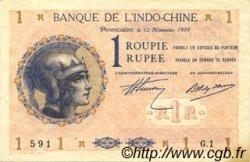 1 Rupee - 1 Roupie INDE FRANÇAISE  1919 P.004a SUP+