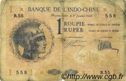 1 Rupee - 1 Roupie INDE FRANÇAISE  1928 P.04b B+