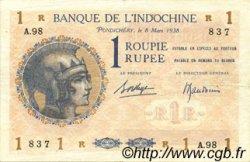 1 Rupee - 1 Roupie INDE FRANÇAISE  1938 P.004d TTB+