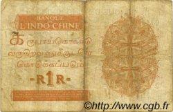1 Rupee - 1 Roupie INDE FRANÇAISE  1945 P.004d TB+