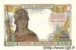 5 Roupies INDE FRANÇAISE  1937 P.005bs pr.NEUF
