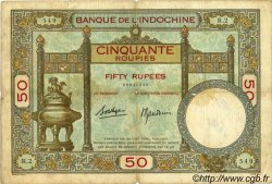 50 Roupies INDE FRANÇAISE  1936 P.007b TB