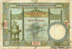 50 Roupies INDE FRANÇAISE  1936 P.07b B+