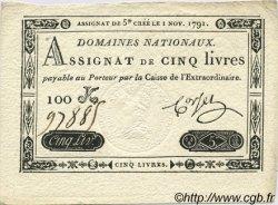 5 Livres FRANCE  1791 Laf.145 pr.NEUF