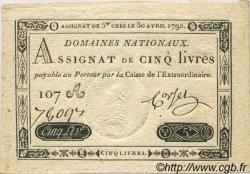 5 Livres FRANCE  1792 Laf.152 SUP