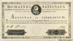50 Livres FRANCE  1792 Laf.153 SPL