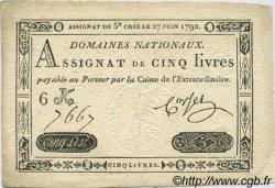 5 Livres FRANCE  1792 Laf.155 SUP