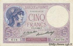 5 Francs VIOLET FRANCE  1928 F.03.12 SUP+