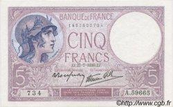 5 Francs VIOLET modifié FRANCE  1939 F.04.03 pr.SPL