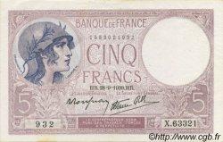 5 Francs VIOLET modifié FRANCE  1939 F.04.10 SPL+