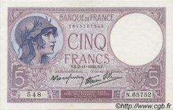 5 Francs VIOLET modifié FRANCE  1939 F.04.14 NEUF