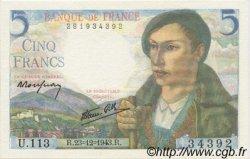 5 Francs BERGER FRANCE  1943 F.05.05 NEUF