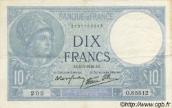 10 Francs MINERVE modifié FRANCE  1942 F.07.31 TTB+