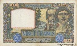 20 Francs SCIENCE ET TRAVAIL FRANCE  1941 F.12.12 pr.SUP