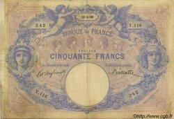 50 Francs BLEU ET ROSE FRANCE  1890 F.14.02 B+