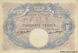 50 Francs BLEU ET ROSE FRANCE  1927 F.14.40 TB à TTB