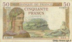 50 Francs CÉRÈS FRANCE  1937 F.17.40 TB+