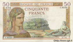 50 Francs CÉRÈS FRANCE  1937 F.17.40 pr.SUP