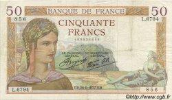 50 Francs CÉRÈS modifié FRANCE  1937 F.18.02 TTB