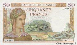50 Francs CÉRÈS modifié FRANCE  1937 F.18.03 SUP