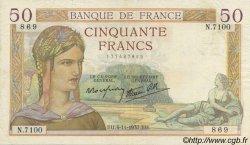 50 Francs CÉRÈS modifié FRANCE  1937 F.18.04 TTB