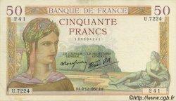 50 Francs CÉRÈS modifié FRANCE  1937 F.18.05 TTB+