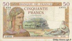 50 Francs CÉRÈS modifié FRANCE  1939 F.18.22 TTB à SUP