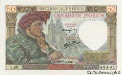 50 Francs Jacques CŒUR FRANCE  1941 F.19.08 SPL+