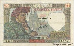 50 Francs Jacques CŒUR FRANCE  1941 F.19.14 aVF