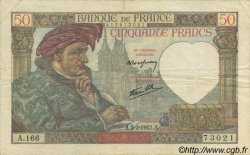 50 Francs Jacques CŒUR FRANCE  1942 F.19.19 pr.TTB