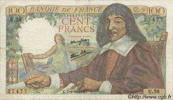 100 Francs DESCARTES FRANCE  1943 F.27.03 pr.TTB