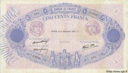 500 Francs BLEU ET ROSE modifié FRANCE  1937 F.31.05 TTB