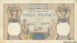 1000 Francs CÉRÈS ET MERCURE type modifié FRANCE  1939 F.38.39 TB+
