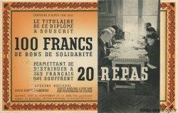 100 Francs - 20 Repas FRANCE régionalisme et divers  1941 KLd.01Bs SPL