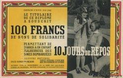 100 Francs - 10 Jours de Repos FRANCE  1941 KLd.03Bs pr.NEUF