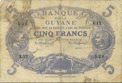 5 Francs Cabasson bleu GUYANE  1922 P.01a TB+