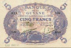 5 Francs Cabasson bleu GUYANE  1930 P.01a var SUP