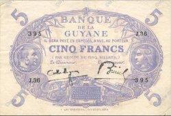 5 Francs Cabasson bleu 1901 GUYANE  1939 P.01c TTB+