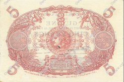 5 Francs Cabasson bleu 1901 GUYANE  1942 P.01d SPL+