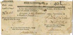 40 Livres GUYANE  1794 P.A5 TB