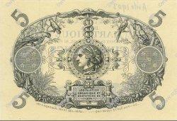 5 Francs Cabasson bleu 1874 MARTINIQUE  1895 P.05Cs NEUF