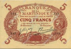 5 Francs Cabasson rouge 1901 MARTINIQUE  1903 P.06A pr.SPL