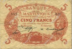 5 Francs Cabasson rouge 1901 MARTINIQUE  1922 P.06A TB à TTB